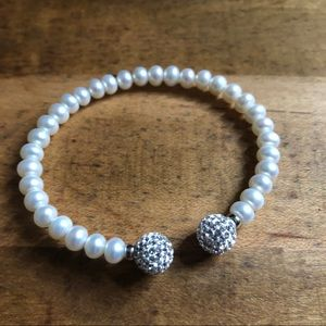 Jewelry - Faux pearl cuff bracelet with faux diamond beads